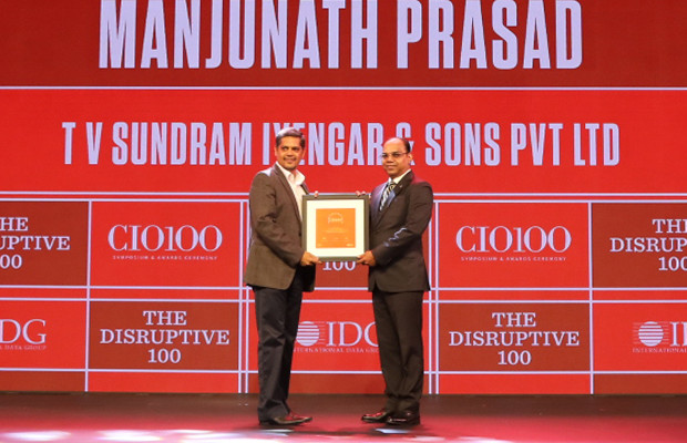 The Disruptive 100: Manjunath Prasad, Head-IT Infrastructure, TVS & Sons receives the CIO100 Award for 2019