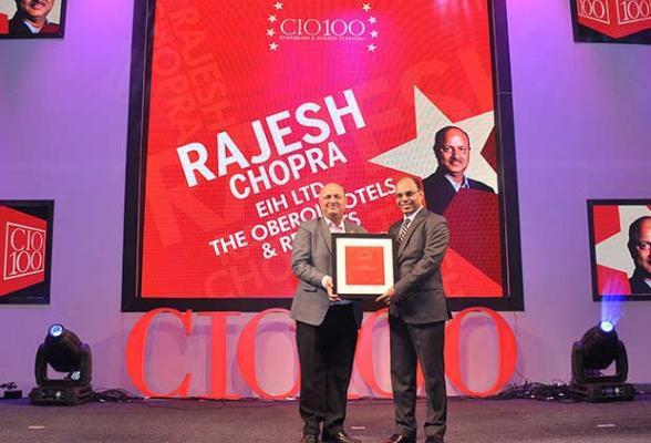 The Transformative 100: Rajesh Chopra, Sr. VP IT of EHI- The Oberoi Hotels & Resorts receives the CIO100 Award for 2016