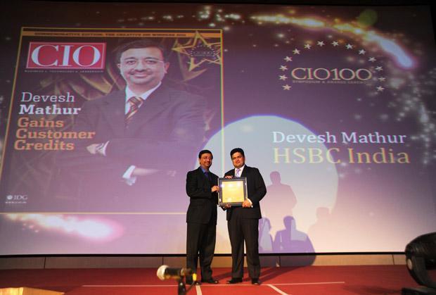 The Creative 100: Devesh Mathur, COO India, HSBC receives CIO100 Award for 2011