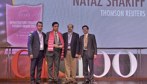 Infrastructure Evolution Futurist: Nayaz Shariff, Regional IT Head (Infrastructure), South Asia of Thomson Reuters receives the CIO100 Special Award for 2013 from Sharad Sanghi, MD and CEO, Netmagic and Sunil Gupta, COO, Netmagic