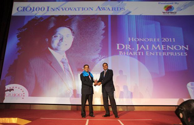 Innovation: Jai Menon, Director - IT Innovations, Bharti Airtel, receives the CIO100 Special Award for 2011 from Anand Sanakaran, SVP and Business Head, India, Middle East and Africa, Wipro.