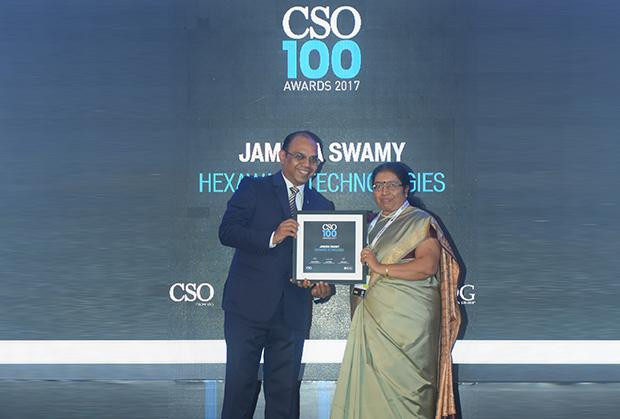 Jamuna Swamy, CISO, Hexaware Technologies receives the CSO100 Award for 2017.