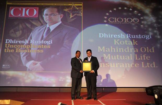 The Creative 100: Dhiresh Rustogi, Head-IT, Kotak Life Insurance receives CIO100 Award for 2011