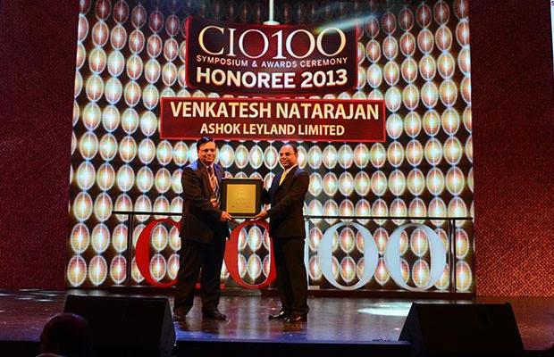 The Astute 100: Venkatesh Natarajan, Special Director-IT of Ashok Leyland receives the CIO100 Award for 2013