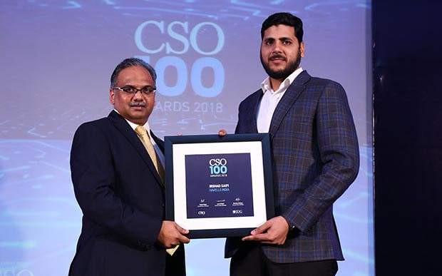 Irshad Safi, AVP IT & Information Security, Havells India receives CSO100 Award for 2018