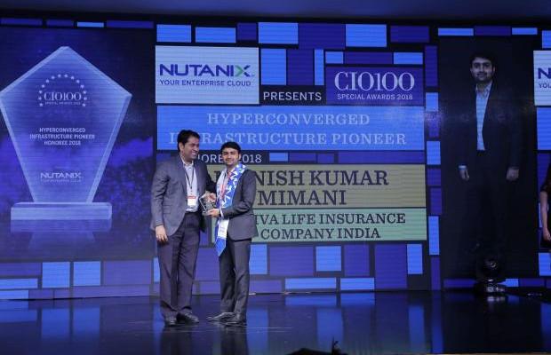 Hyperconverged Infrastructure Pioneer: Manish Kumar Mimani, VP & Head– It, Aviva Life Insurance Company India, receives the CIO100 special award for 2018 from Sunil Mahale, VP & MD Nutanix India