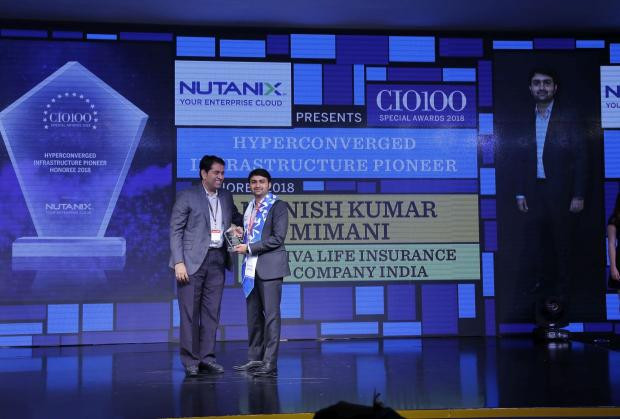 Hyperconverged Infrastructure Pioneer: Manish Kumar Mimani, VP & Head– It, Aviva Life Insurance Company India, receives the CIO100 special award for 2018 from Sunil Mahale, VP & MD Nutanix India