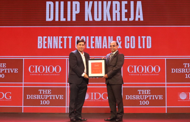 The Disruptive 100: Dilip Kukreja, Vice President & Head – Digital Innovations at Bennett Coleman & Co.  receives the CIO100 Award for 2019