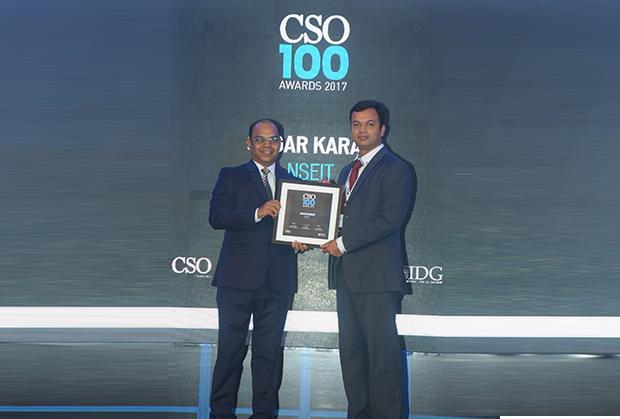 Sagar Karan, Principal - Cyber Security Advisory, NSEiT receives the CSO100 Award for 2017.