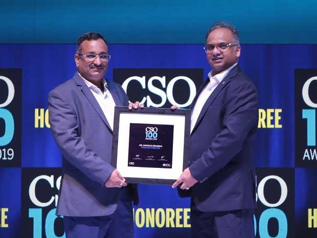 Dr. Pawan Kumar Sharma, CISO of Tata Motors receives the CSO100 Award for 2019