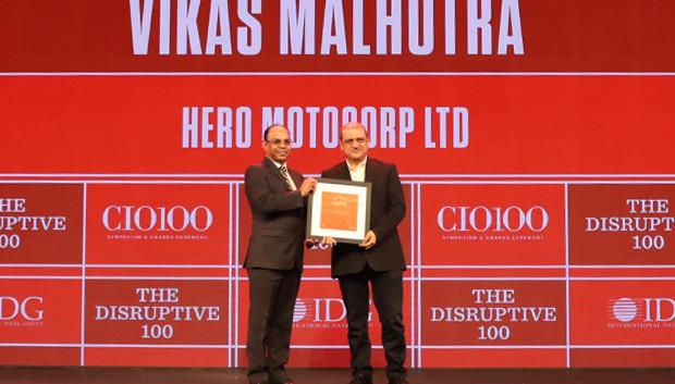 The Disruptive 100: Vikas Malhotra, Senior General Manager – Information Systems, Hero MotoCorp receives the CIO100 Award for 2019