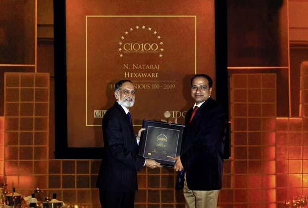 The Ingenious 100: Nataraj N, Global CIO of Hexaware Technologies receives the CIO100 Award for 2009