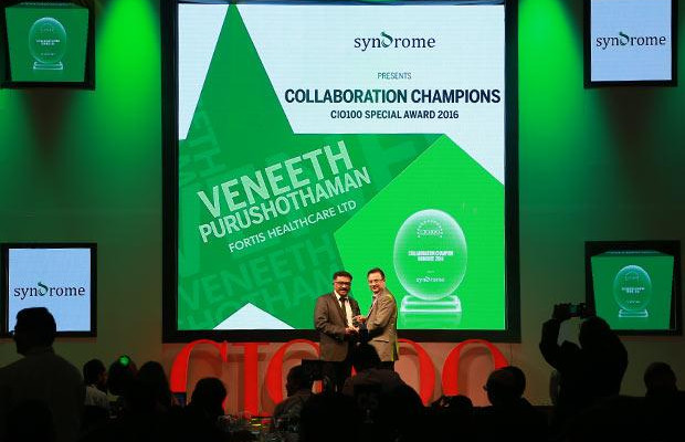 Collaboration Champion: Veneeth Purushotaman, CIO of Fortis Healthcare receives the CIO100 Special Award for 2016 from Yogesh Purohit, Director-Sales, Syndrome