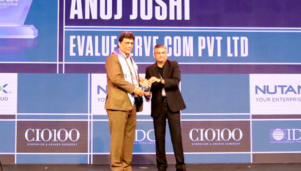 HCI Trailblazer: Anuj Joshi, Associate Vice President - Information Technology, Evalueserve receives the CIO100 Special Award for 2019 from Anantharaman Balakrishnan, President & CEO, Nutanix India