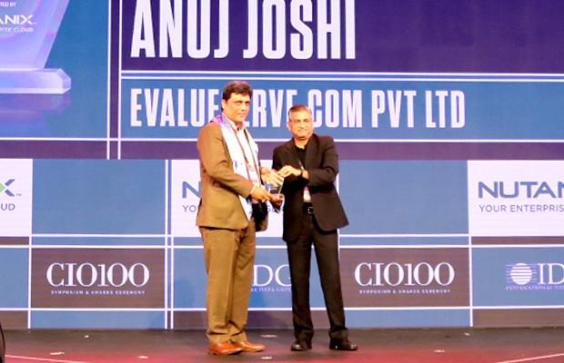 HCI Trailblazer: Anuj Joshi, Associate Vice President - Information Technology, Evalueserve receives the CIO100 Special Award for 2019 from Anantharaman Balakrishnan, President & CEO, Nutanix India