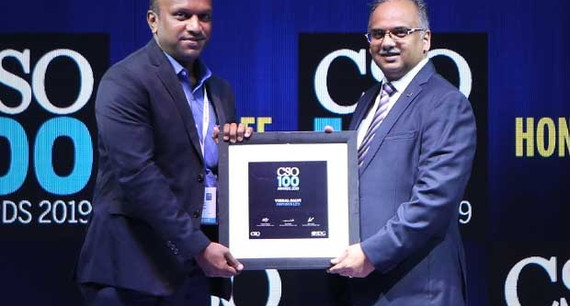 Sanjay Krishnan receives the CSO100 Award for 2019 on behalf of Infosys