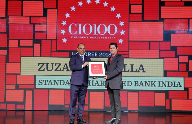 The Digital Architect: Sandeep Gupta, on behalf of Zuzar Tinwalla, CIO at Standard Chartered Bank India receives the CIO100 award for 2018