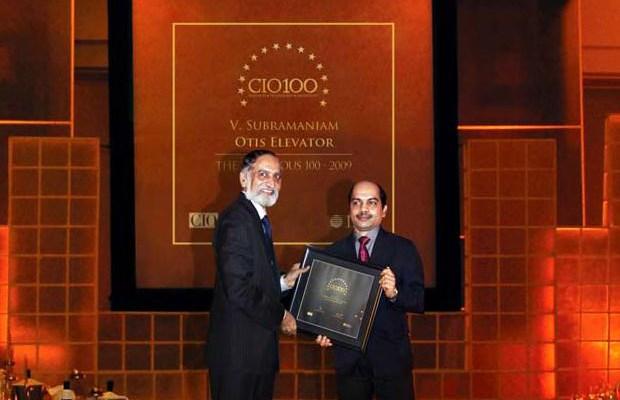 The Ingenious 100: V Subramaniam, Director-IT & CIO, South Asia Pacific, UTC Building & Industrial Systems (Otis Elevator Company) receives the CIO100 Award for 2009