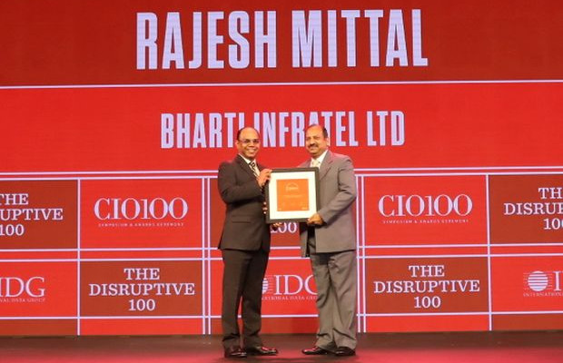 The Disruptive 100: Rajesh Mittal, GM and Head of Operations, IT Infrastructure and Smart City, Bharti Infratel receives the CIO100 Award for 2019