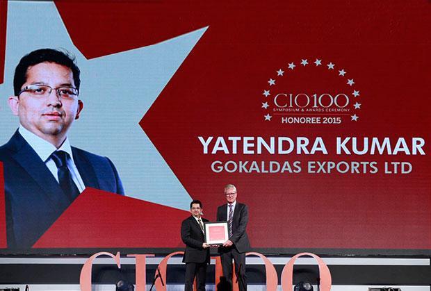 The Versatile 100: Yatendra Kumar, Head-IT, Gokaldas Exports receives the CIO100 Award for 2015