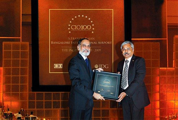 The Ingenious 100: S Francis Rajan, VP - ICT of Bangalore International Airport (BIAL) receives the CIO100 Award for 2009.