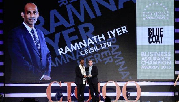 Business Assurance Champion: Ramnath Iyer, CIO of CRISIL receives the CIO100 Special Award for 2015 from Andrew Littleproud, VP-APAC, Blue Coat