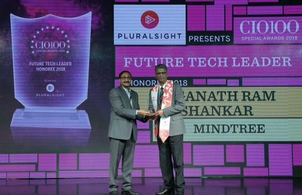Future Tech Leader: Jaganath Ram Shankar, VP & Head - Automation Platforms & Tools, Mindtree, receives the CIO100 special award for 2018 from Arun Rajamani Sivaramakrishnan, VP & Country Head Pluralsight India