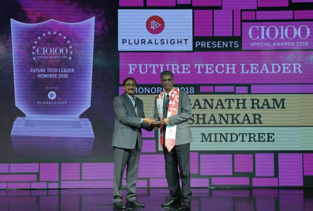 Future Tech Leader: Jaganath Ram Shankar, VP & Head - Automation Platforms & Tools, Mindtree, receives the CIO100 special award for 2018 from Arun Rajamani Sivaramakrishnan, VP & Country Head Pluralsight India