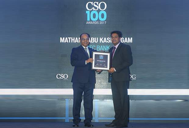 Mathan Babu Kasilingam, Head - Cybersecurity and Solutions at HDFC Bank receives the CSO100 Award for 2017