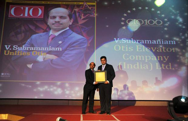 The Creative 100: V Subramaniam, Director-IT & CIO, South Asia Pacific, UTC Building & Industrial Systems (Otis Elevator Company) receives the CIO100 Award for 2011