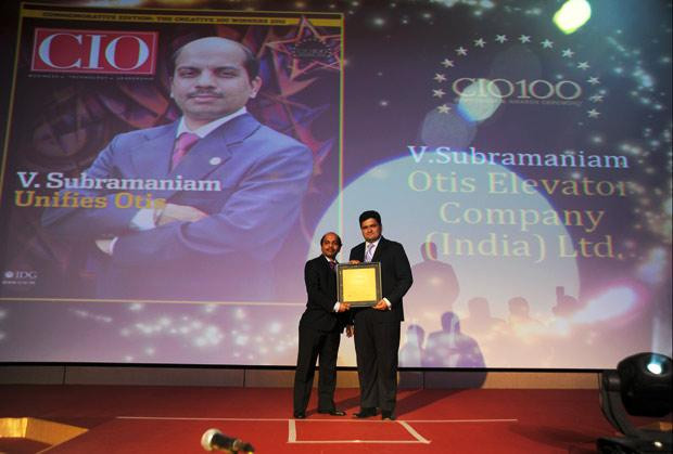 The Creative 100: V Subramaniam, Director-IT & CIO, South Asia Pacific, UTC Building & Industrial Systems (Otis Elevator Company) receives the CIO100 Award for 2011