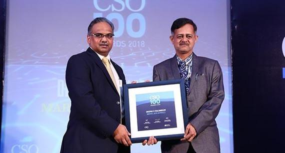 Deepak Kalambkar, CISO at Marvel Data Services receives the CSO100 Award for 2018