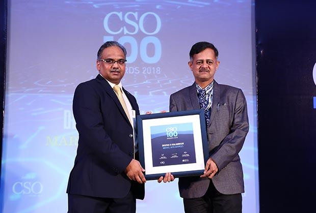 Deepak Kalambkar, CISO at Marvel Data Services receives the CSO100 Award for 2018