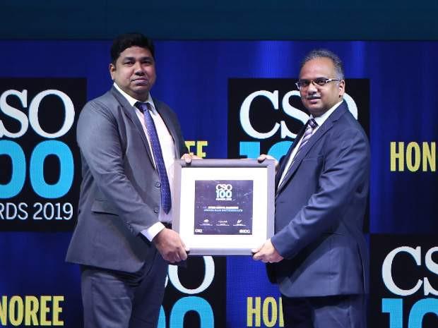Syed Abdul Raheem, head of cyber security at Amara Raja Group receives the CSO100 Award for 2019