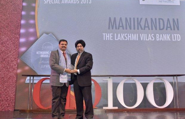 The Transformative 100: M Manikandan, DGM-IT of The Lakshmi Vilas Bank receives the CIO100 Award for 2016