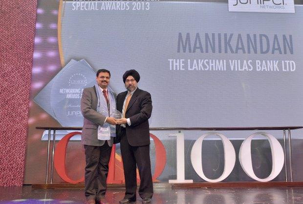 The Transformative 100: M Manikandan, DGM-IT of The Lakshmi Vilas Bank receives the CIO100 Award for 2016
