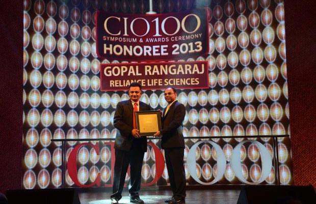 The Astute 100: Gopal Rangaraj, Senior VP - IT, Reliance Life Sciences receives the CIO100 Award for 2013.