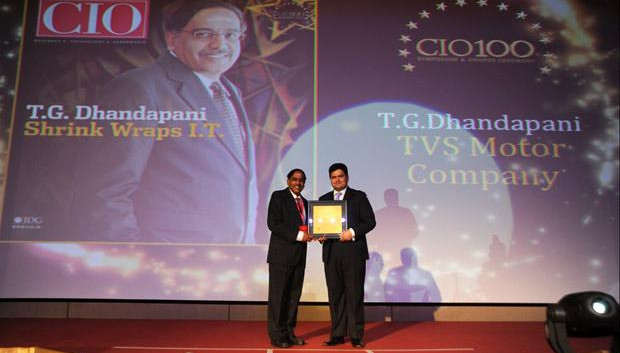 The Creative 100: T G Dhandapani, CIO of TVS Motor Company receives the CIO100 Award for 2011