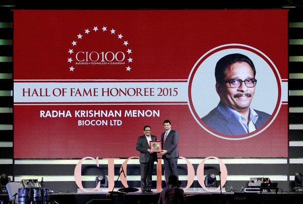 Hall of Fame: Radha Krishnan Menon, IT Head of Biocon receives the CIO100 Special Award for 2015