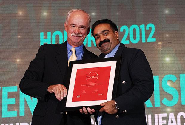 The Resilient 100: Venkatakrishnan B B, Head - IT of Mahindra Vehicle Manufacturers receives the CIO100 Award for 2012