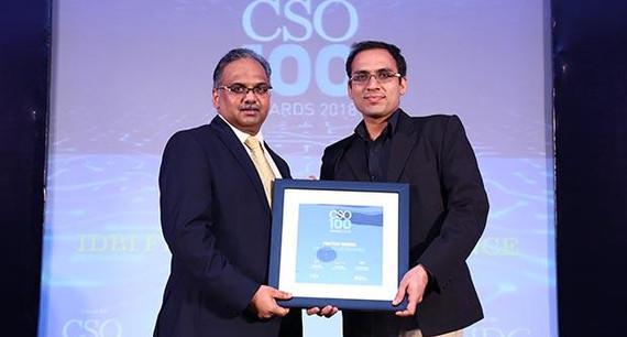 Prateek Mishra, CISO at IDBI Federal Life Insurance receives the CSO100 Award for 2018