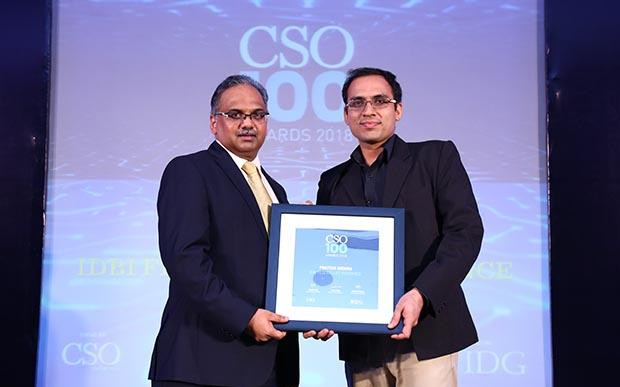 Prateek Mishra, CISO at IDBI Federal Life Insurance receives the CSO100 Award for 2018