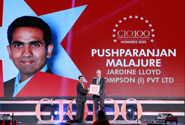 The Versatile 100: Pushparanjan Malajure, IT - Director of Jardine Lloyd Thompson India receives the CIO100 Award for 2015