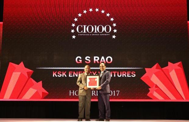 The Digital Innovators: G S Rao, CIO of KSK Energy Ventures receives the CIO100 Award for 2017