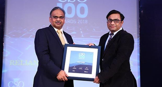 Vivek Zakarde, Head-Technology of Reliance General Insurance receives the CSO100 Award for 2018