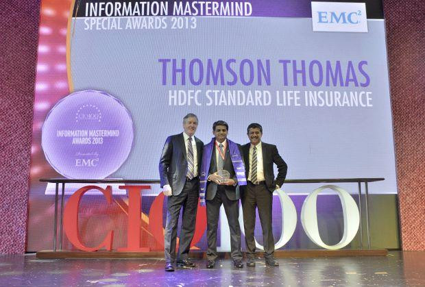 Information Mastermind: Thomson Thomas, CIO of HDFC Life Insurance Co receives the CIO100 Special Award for 2013 from David Webster, President-APJ, EMC India and Rajesh Janey, President-India and SAARC, EMC