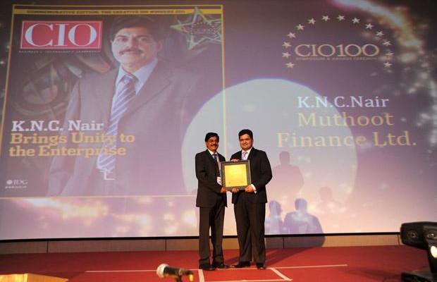 The Creative 100: KNC Nair, Group CIO of Muthoot Finance receives the CIO100 Award for 2011