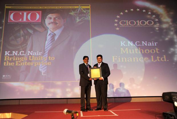 The Creative 100: KNC Nair, Group CIO of Muthoot Finance receives the CIO100 Award for 2011