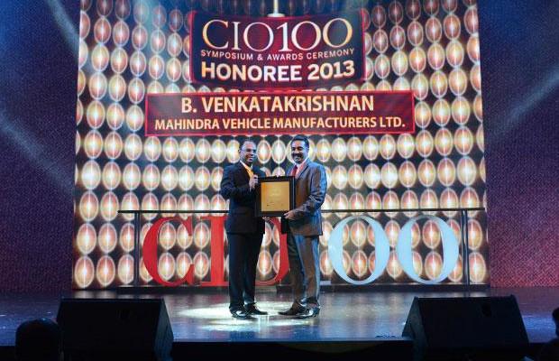 The Astute 100: Venkatakrishnan B B, Head - IT of Mahindra Vehicle Manufacturers receives the CIO100 Award for 2013