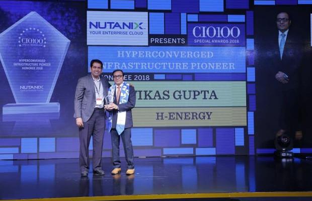 Hyperconverged Infrastructure Pioneer: Vikas Gupta, Head IT & CIO, H-Energy, receives the CIO100 special award for 2018 from Sunil Mahale, VP & MD Nutanix India